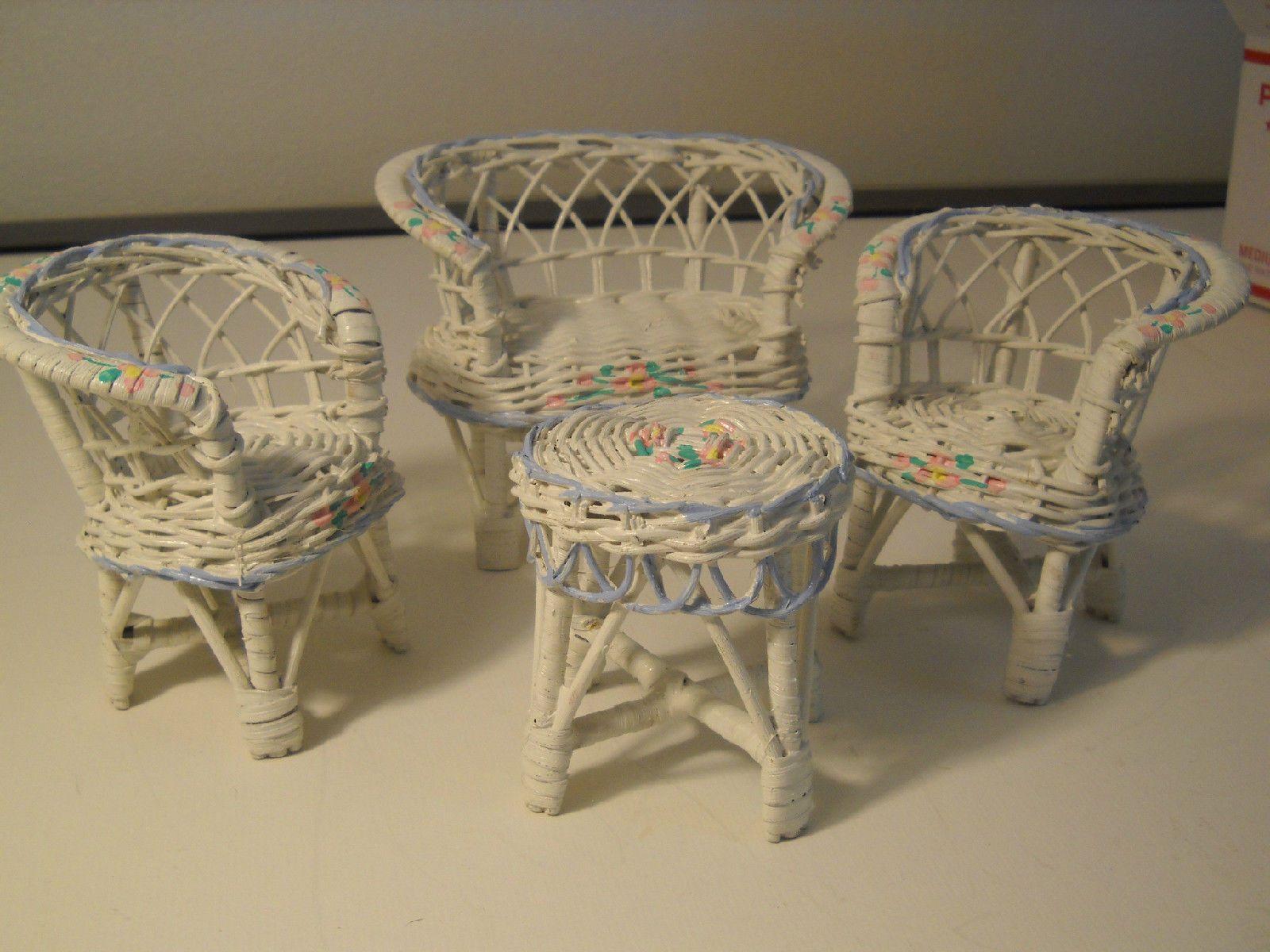 Re painted Vintage Barbie 4 Piece White Wicker Patio Furniture Set
