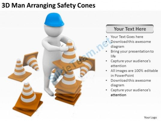 D Man Arranging Safety Cones Ppt Graphics Icons Powerpoint