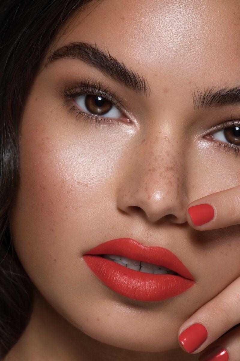 Colourpop makeup, bright orange red lips, natural bronze