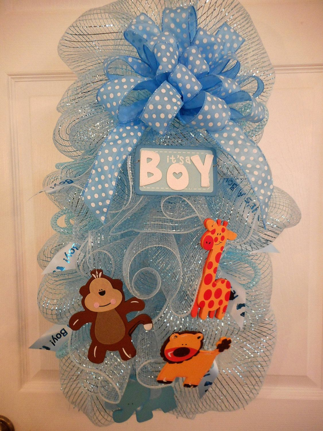 Baby Boy Animals Deco Mesh Wreaths Its A Welcome Home Swag Shower