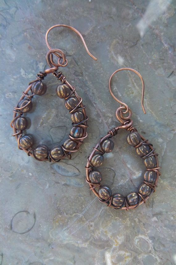Copper and glass wire wrapped hoops by mooliemarket on Etsy, $20.00