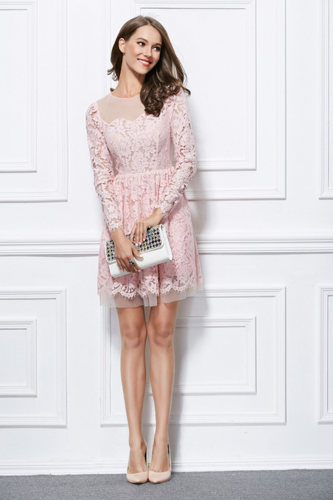 Short Mini Pink #Lace Long Sleeve Party #GraduationDress – #CelebrityDresses #fa…