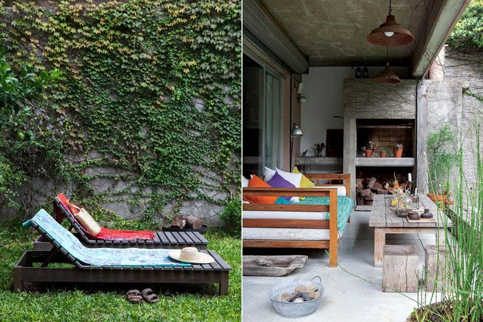 Un jardín urbano decorado con muebles recuperados