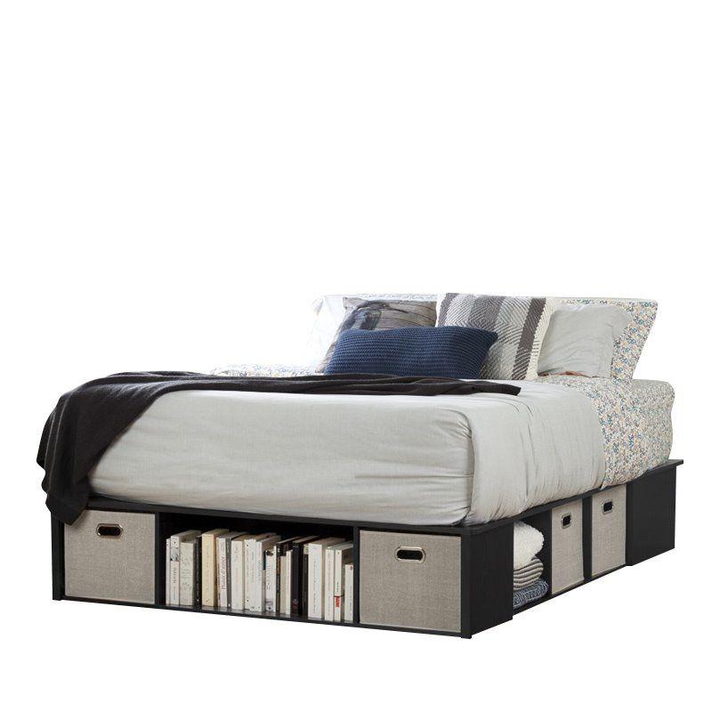 Best South Shore Flexible Queen Platform Bed In Black Oak Bed 400 x 300