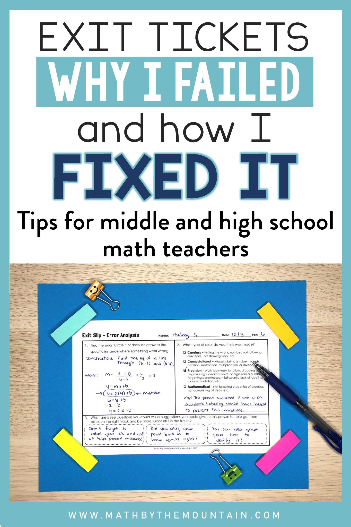 Implementing Exit Tickets In Middle High School Math Why I Failed Before How I Fixed It Mat High School Math Math Exit Tickets High School Math Teacher [ 2047 x 1364 Pixel ]