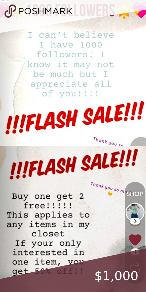 SALEEE!! Details posted 😘 Thank you to 1000 followers!! In response I am hosting a huge sale!! The details are listed above in the second picture Other