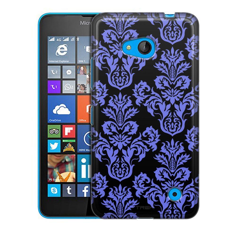 Nokia Lumia 640 Damasks Floral Blue on Black Slim Case