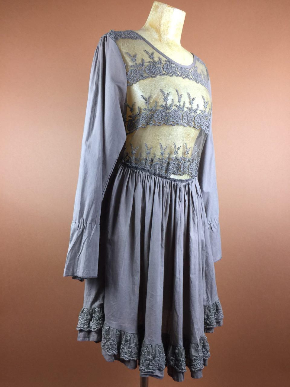 Lace dress gray  s Lace Dress Grey Brown Pleated XSS Festival Elastic Waist