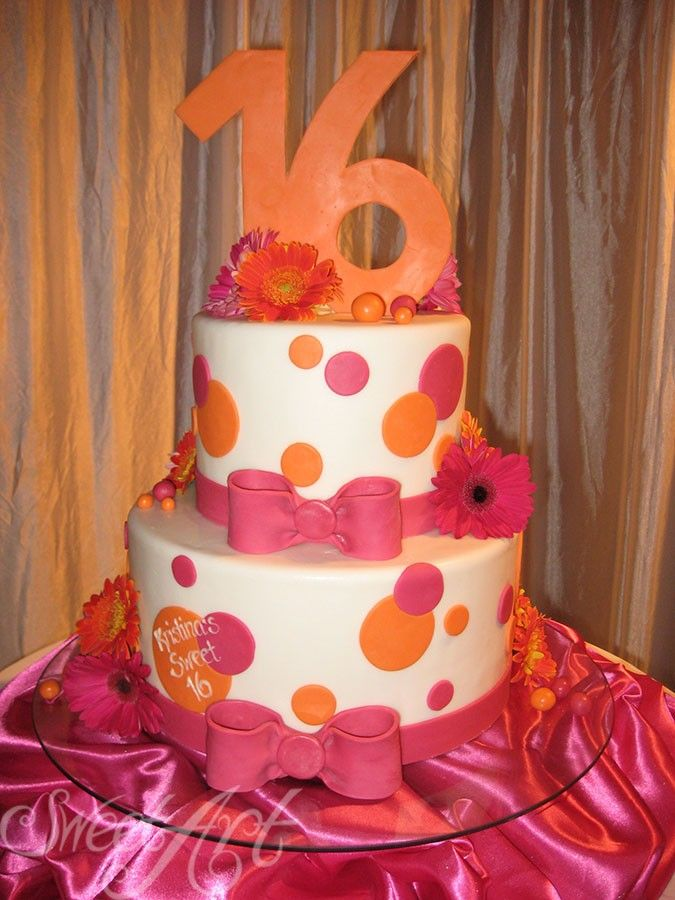 Sweet 16 Orange And Pink Birthday Cake Ideas