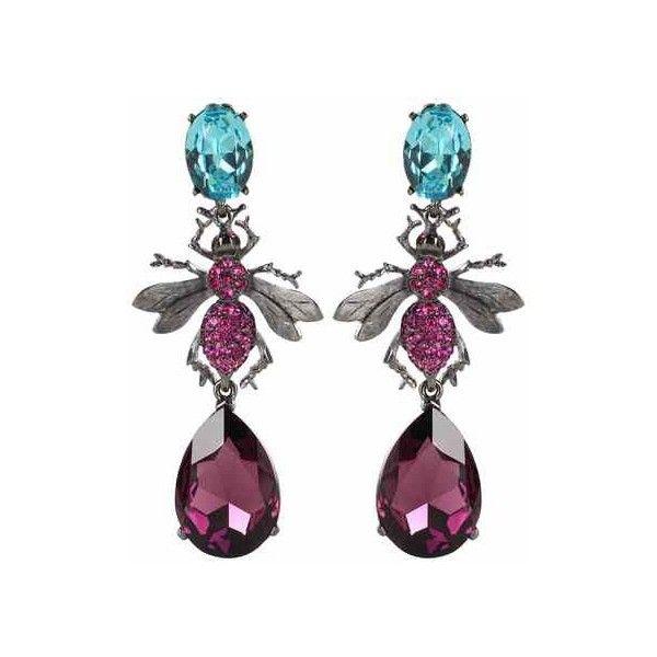 Oscar de la Renta Crystal-Embellished Clip-on Earrings ($550) ❤ liked on Polyvore featuring jewelry, earrings, clip back earrings, clip on earrings, clip earrings, oscar de la renta jewelry and purple jewelry
