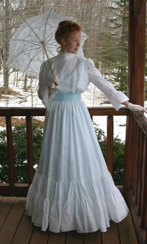 Eyelet Gown - Price: $299.95 Dreamy white cotton eyelet lace dress with a lining in soft blue batiste is styled from the Edwardian era.