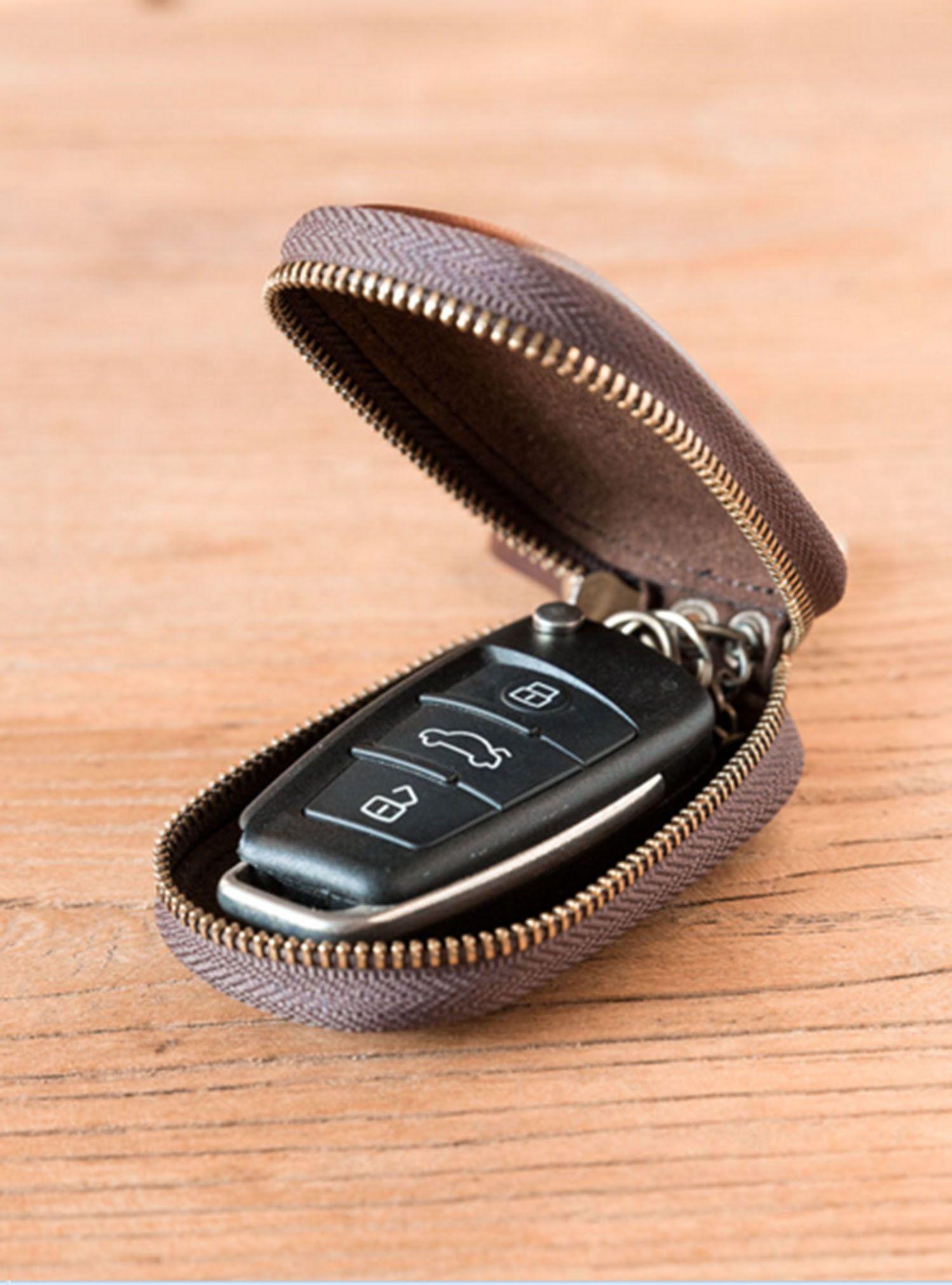 Genuine Leather Car Key Case Keychain Ring Pouch Keys Holder Zipper Coin Wallet