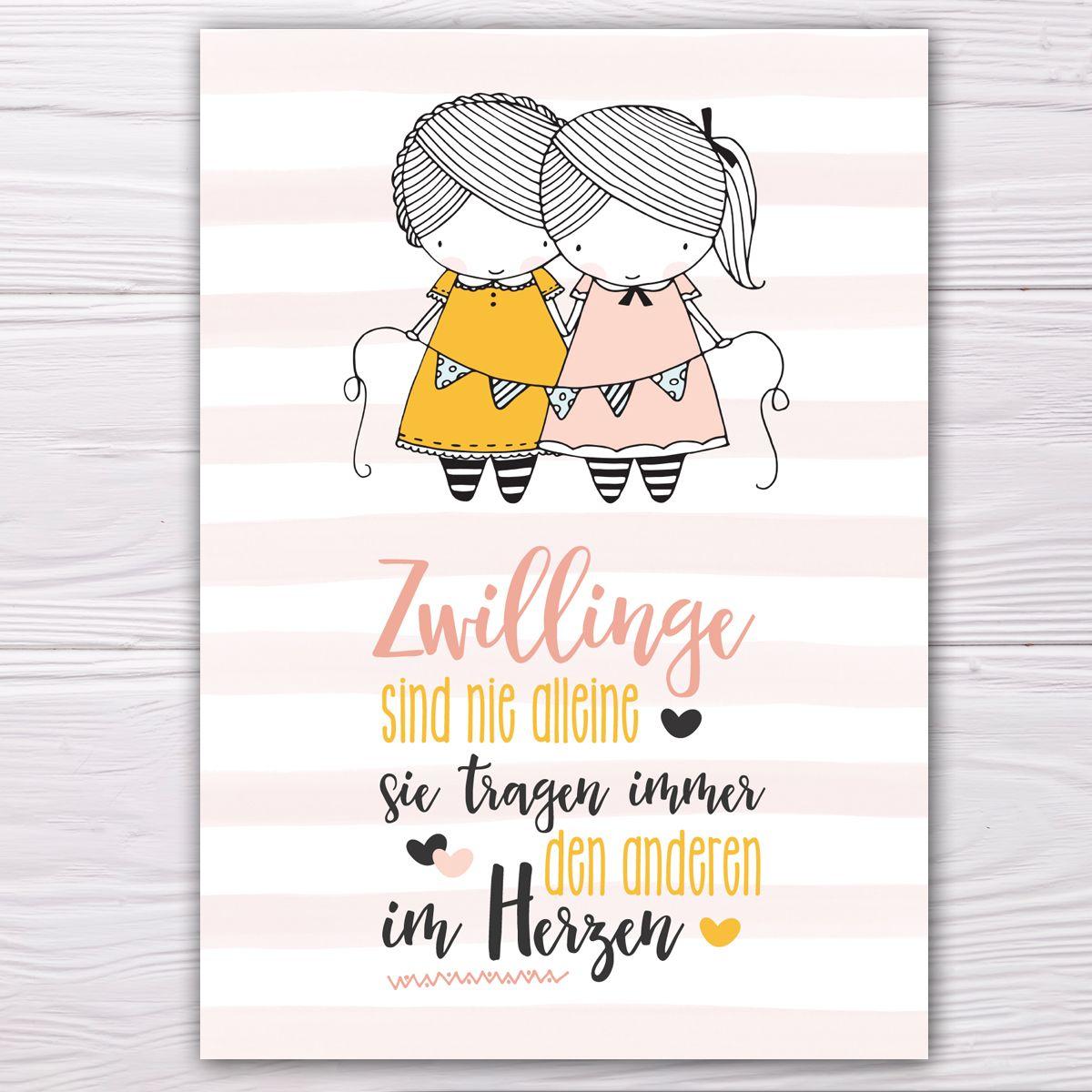 Postkarte Fur Zwillinge Gelb Rose Zwillinge Spruche Zwillinge