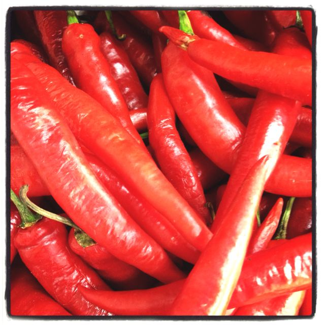 Red chillies in the market