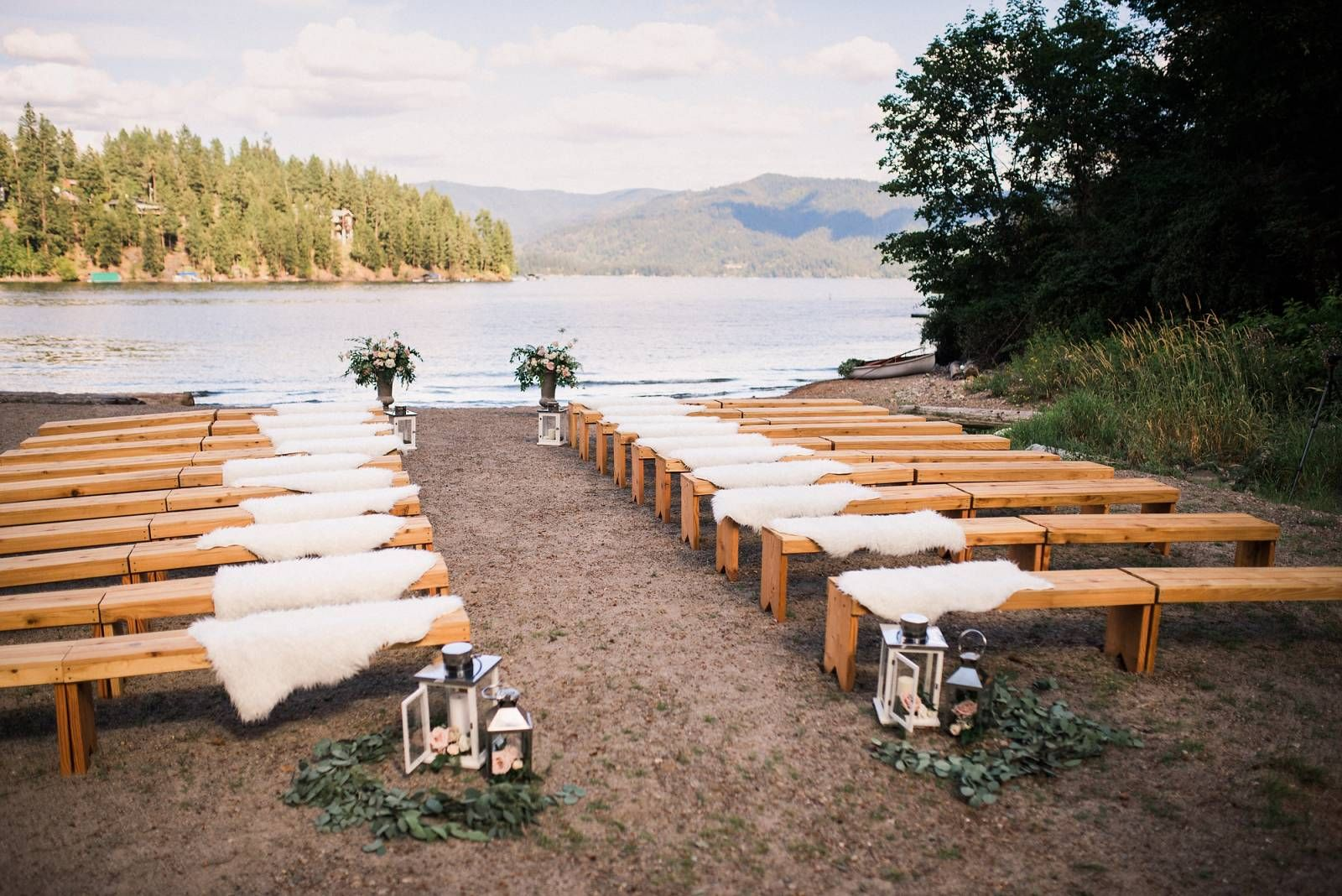 Lakefront Cabin Wedding | Wedding ceremony decorations, Cabin ...