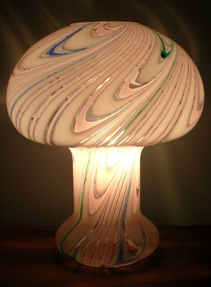 Superb Vtg Retro Mcm 60s 70s Giant Magic Mushroom Murano Italian Art Glass Lamp Art Glass Lamp Vintage Lamps Mushroom Lamp