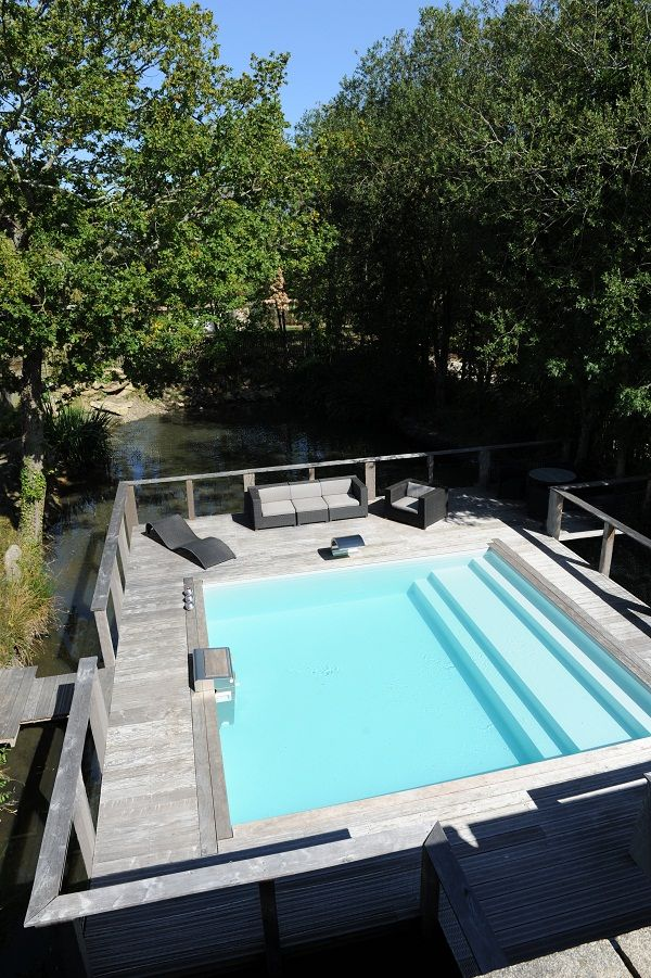 Piscine semi enterr e piscinelle for the home pinterest for Piscine semi enterree