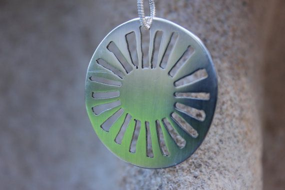 Sterling silver sun pendant by MeggSays on Etsy