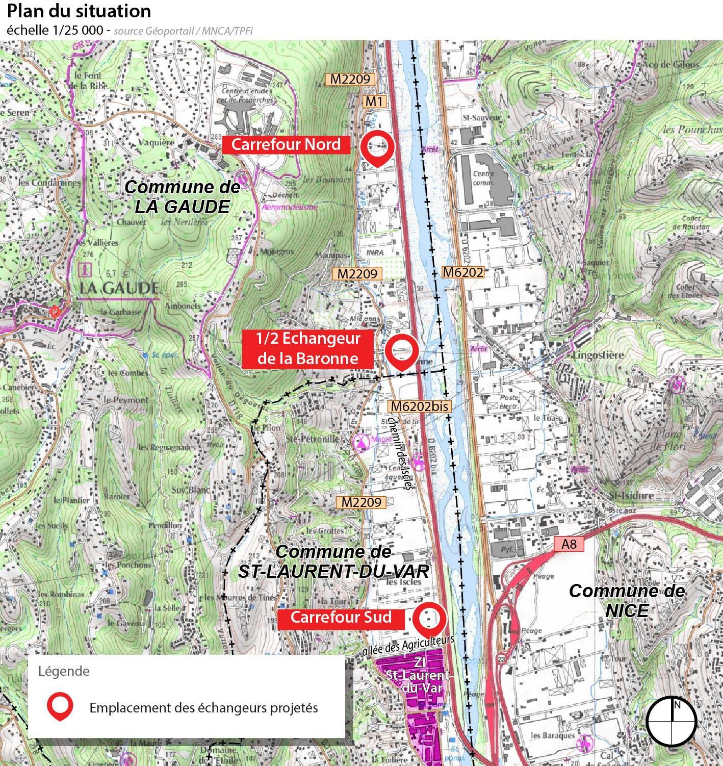 Emplacement des Echangeurs projetés: Nord+Demi.Echangeur.La.Baronne+Sud - OIN ECO-VALLEE (201905)