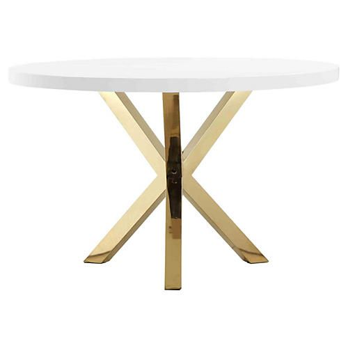 Remi 47 Round Dining Table White Gold Dining Table Luxury