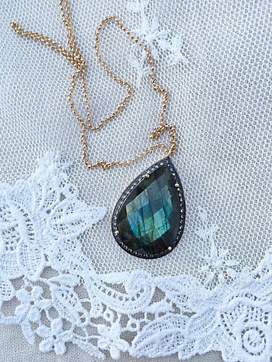 Pear Labradorite, Pave White Topaz, Deep Teal and Blue, Gold Fill Chain, Gorgeous Color, Cut. For You, For Her! One only! by ShalomJewelry on Etsy https://www.etsy.com/listing/268471474/pear-labradorite-pave-white-topaz-deep