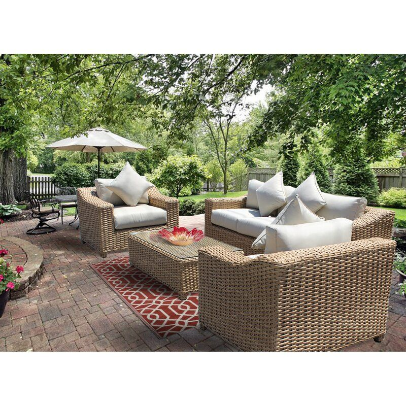 Chatham 4 Piece Sofa Seating Group With Cushion Seating Groups Rattan Sofa Patio Furniture
