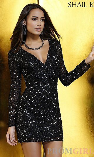 d121ffada6 Short Sequin V-Neck Dress with Long Sleeves at PromGirl.com