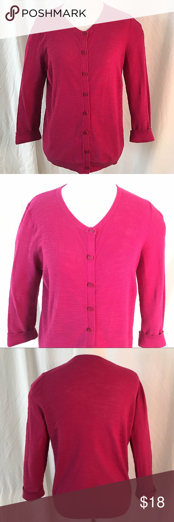 Ann Taylor Loft Fuchsia Sweater Cute fuchsia button down sweater ...