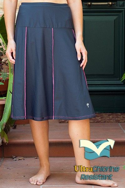81890c62ff4 Corredora Classic Long Water Skirt with Piping Accents. Waters Edge Hip  Hiding Drop Waist Long Swim Skirt