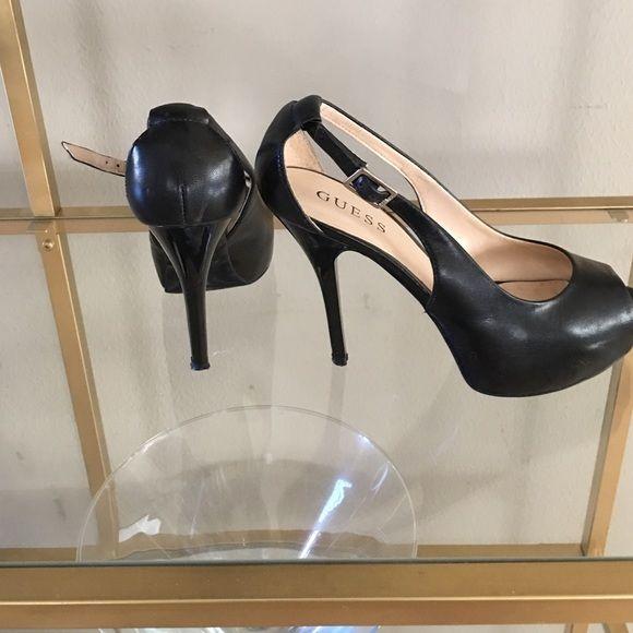 """Guess Black heels Peep toe heels... 3.5"""" heels.. Leather.... Guess Shoes Heels"""