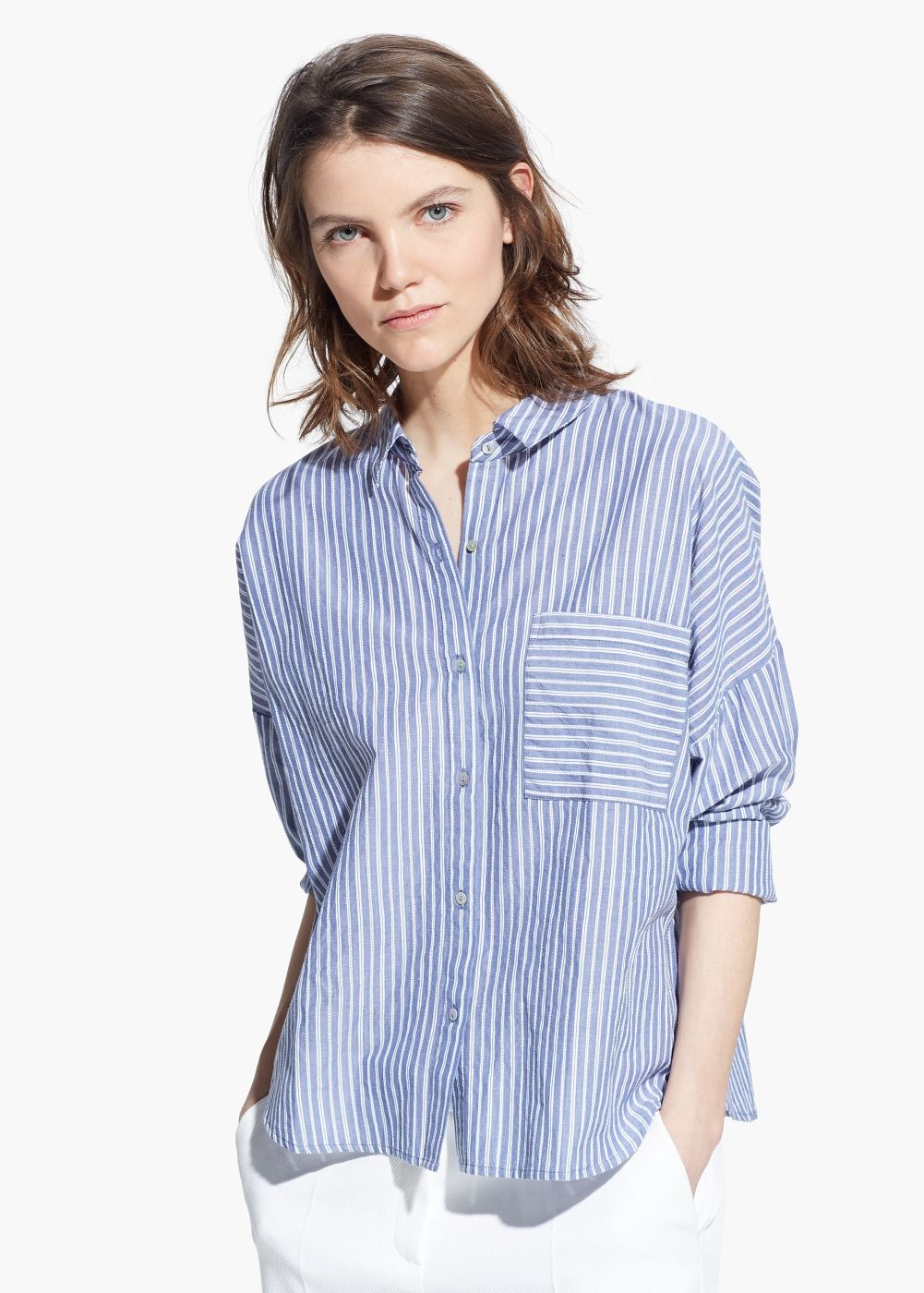Rayas De MujerOutlet Algodón Camisa Mango España Camisas Nn0wm8v