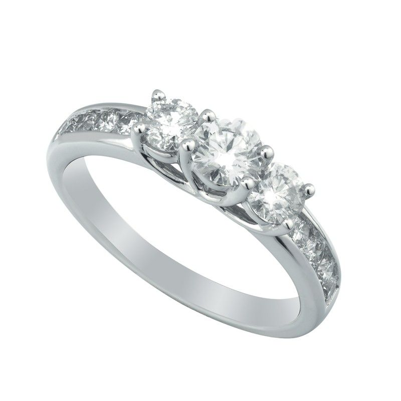 18ct White Gold Trilogy Diamond Engagement Ring 100ct