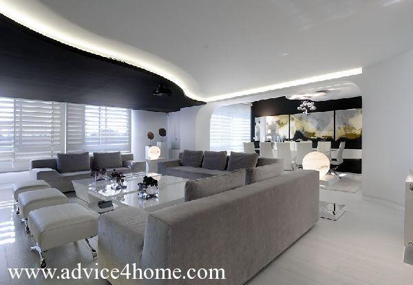 Modern Living Room Black And White