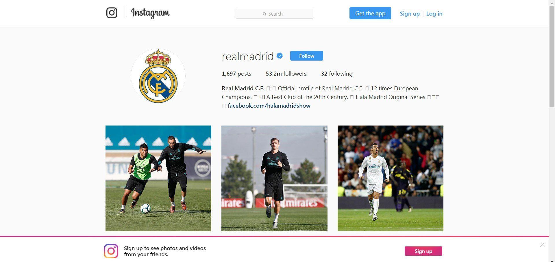 Реал мадрид в instagram