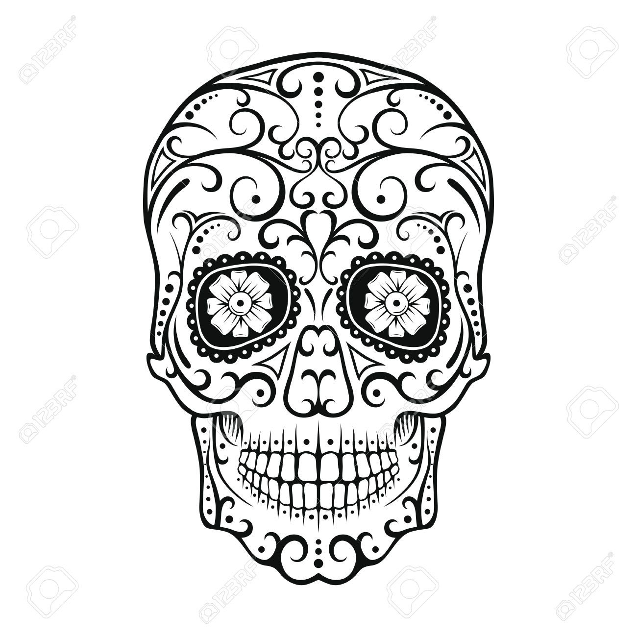 Black And White Tattoo Skull. Day Of The Dead Candy Skull. Mexican ...