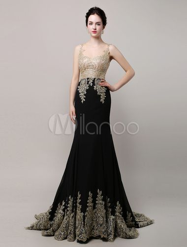 46579f8f12 Deslumbrante preto casamento vestido vestido de noite Applique dourado do  Chiffon sereia ilusão corpete tribunal trem