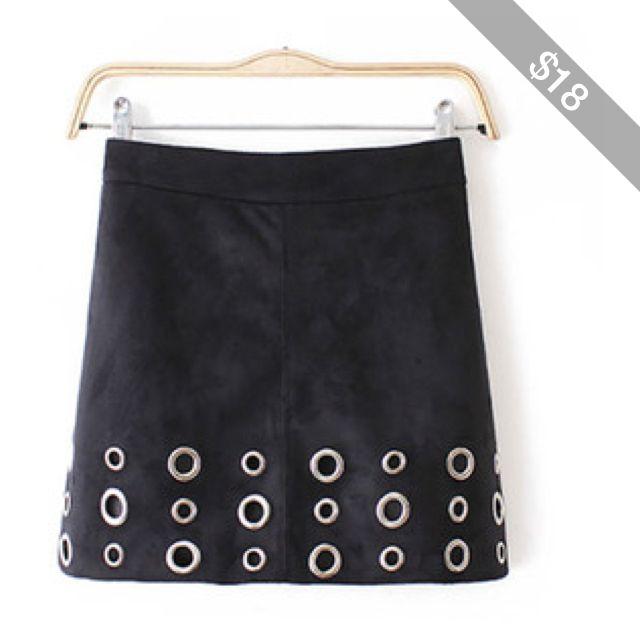 Black Eyelet Mini Sueded Skirt 15SK00106-1