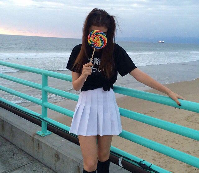 Black Knee High Socks White Tennis Skirt And Aesthetic Black Japanese Shirt Fashion Girl Fashion Bad Fashion