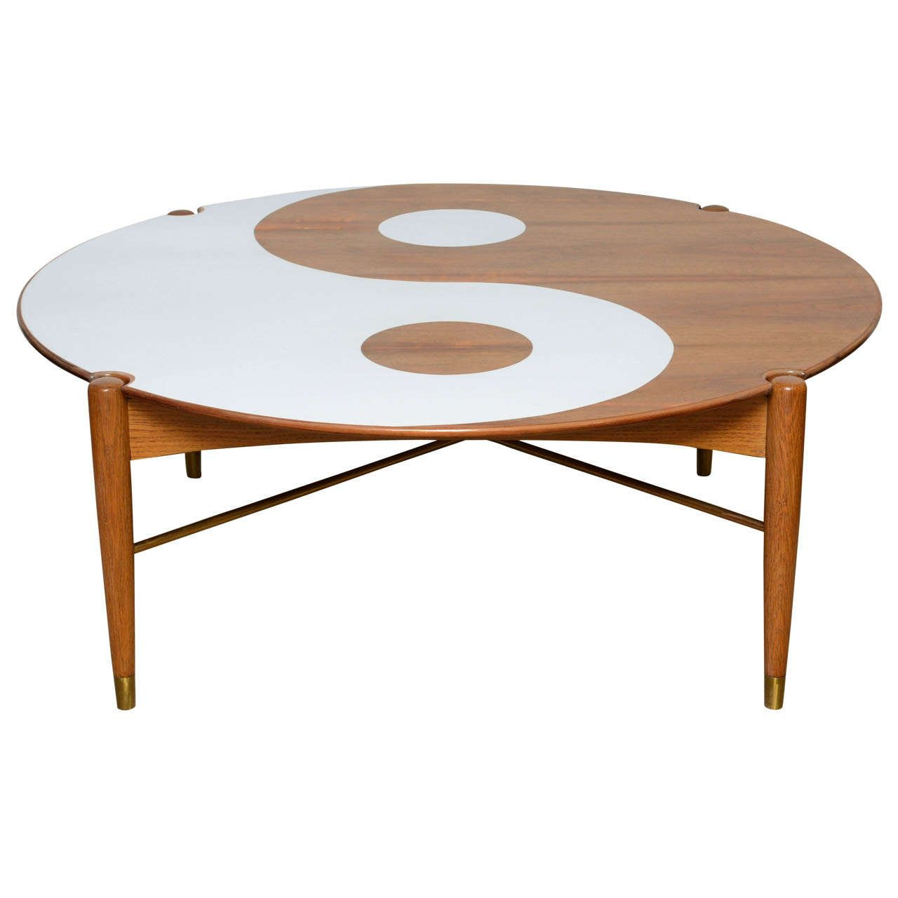 yin and yang mid-century modern round walnut swedish coffee table