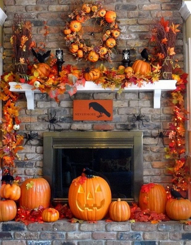how to decorate a red brick fireplace for holloween halloween fireplace mantel decorating. Black Bedroom Furniture Sets. Home Design Ideas