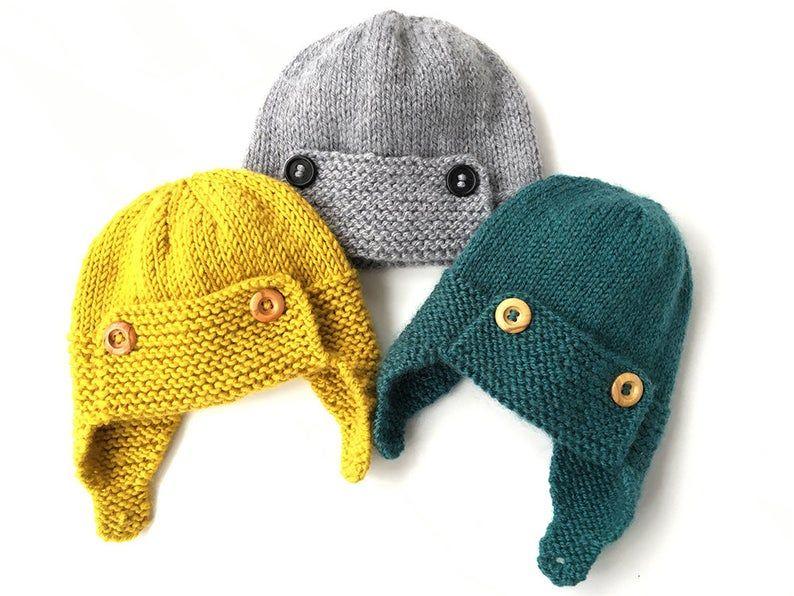 Baby Aviator Hat Knitting Pattern REGAN   Etsy in 2020 ...