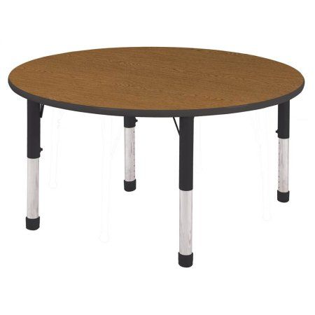 Ecr4kids 60 Inch Round T Mold Adjustable Activity Table Black