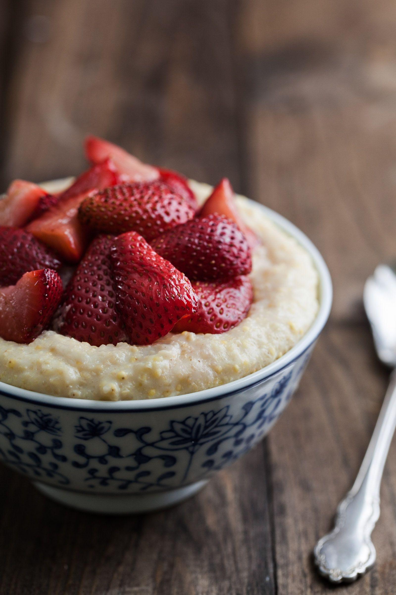 Creamy millet porridge with roasted strawberries recipe