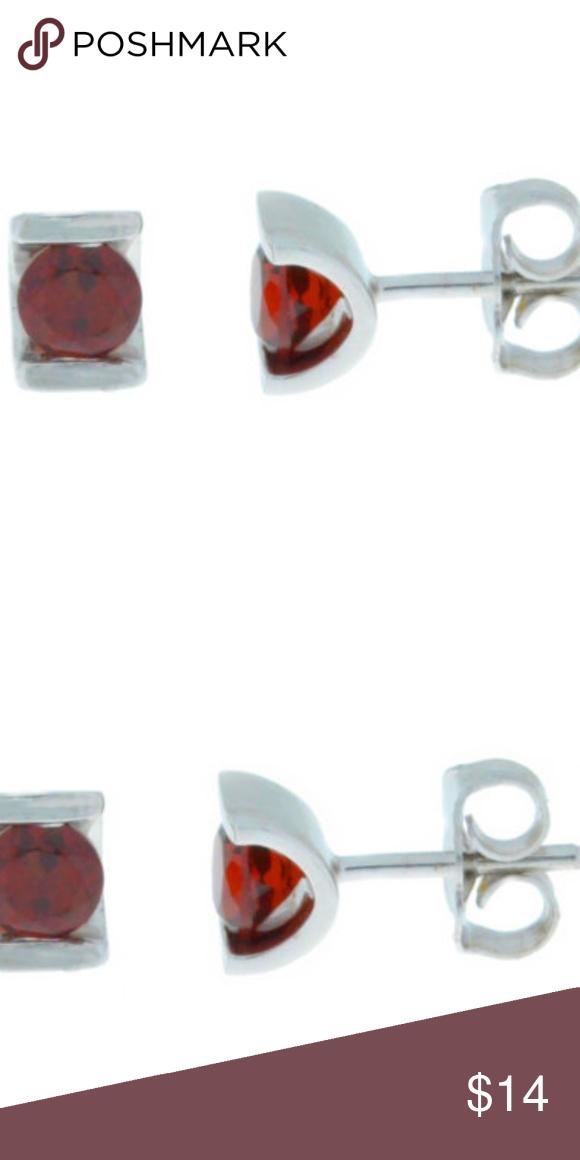 Garnet Half Channel Stud Earrings Sterling Silver Brand New Solid 925 Size