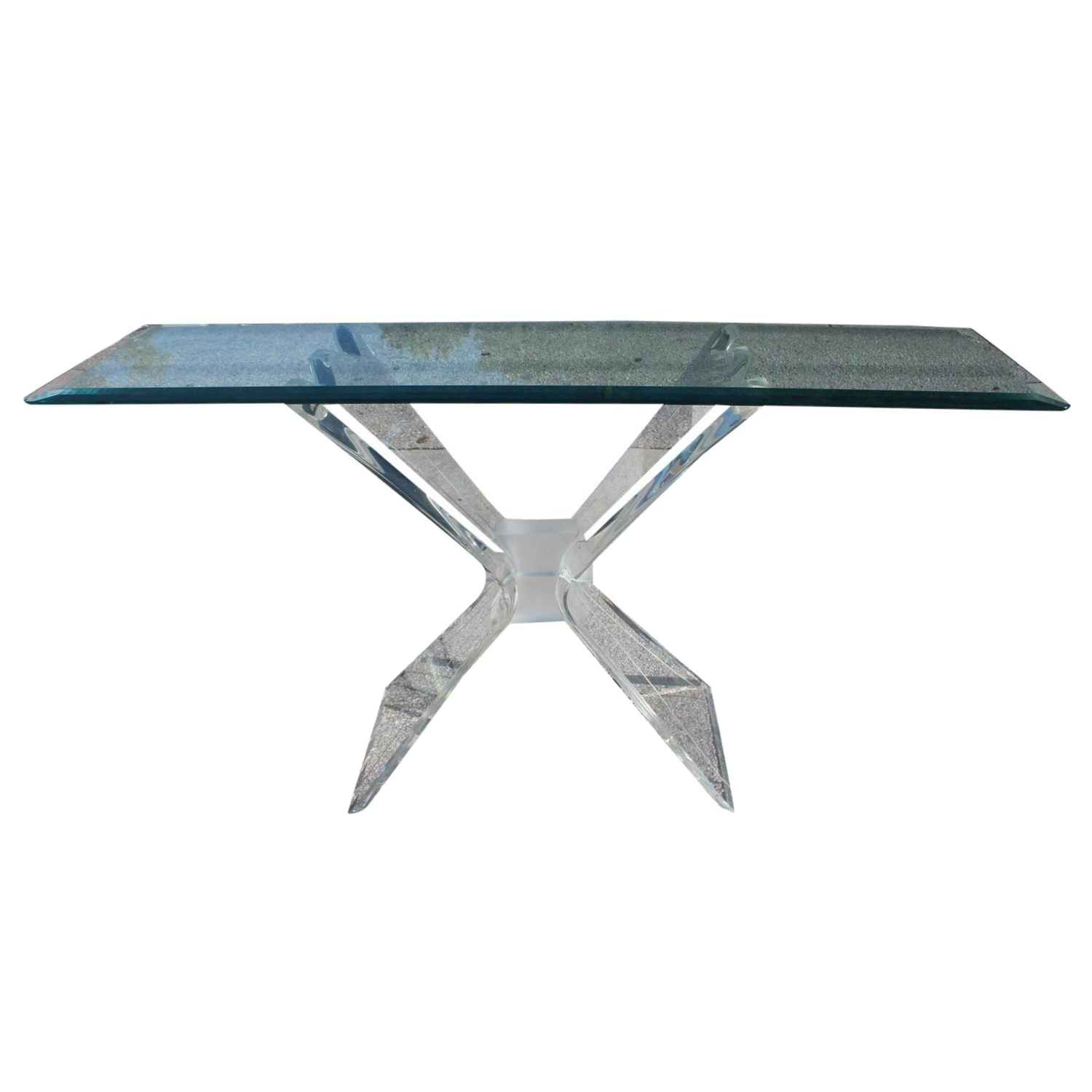 Vintage Butterfly Lucite Console Table On Chairish.com