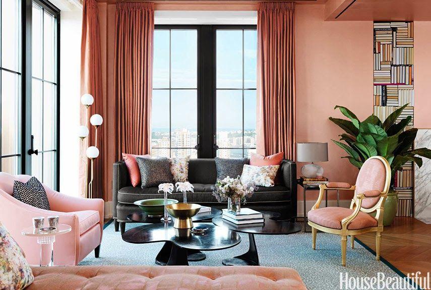 Benjamin Moore Salmon Peach Designer Jamie Drake House Beautiful Designer  Vision House   CreateGirl