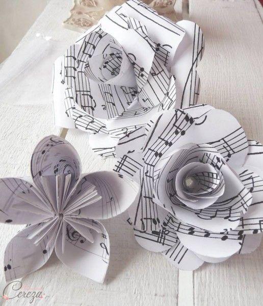 mariage th me musique fleurs bouquet partition cereza mademoiselle 2 d co vinyle pinterest. Black Bedroom Furniture Sets. Home Design Ideas