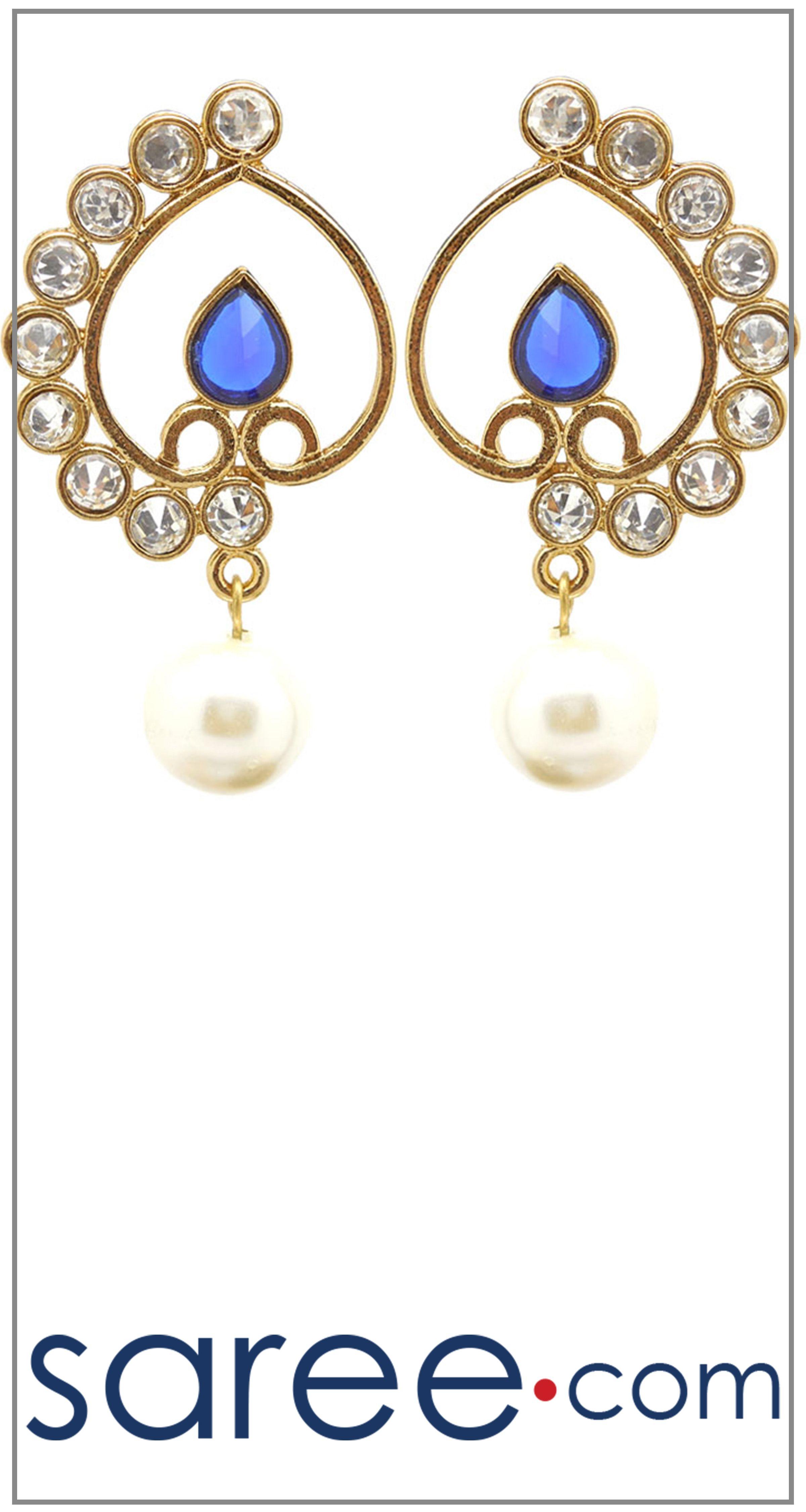 PARTYWEAR BLUE EARRING  #Jewelry #accessories #Earrings #Earringsoftheday #necklace #necklaceoftheday #necklaceset #jewelleryset #jewellerydesign #jewelleryonline #buyonline #jewellery