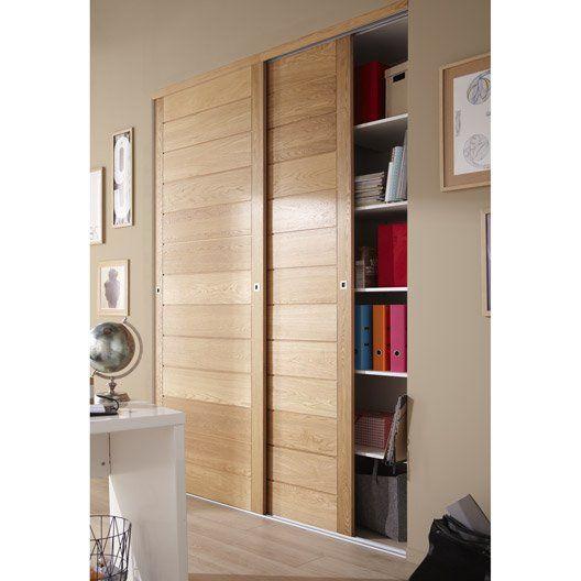 Porte de placard coulissante, chêne naturel SPACEO, 250x97cm - fabriquer un placard avec porte coulissante