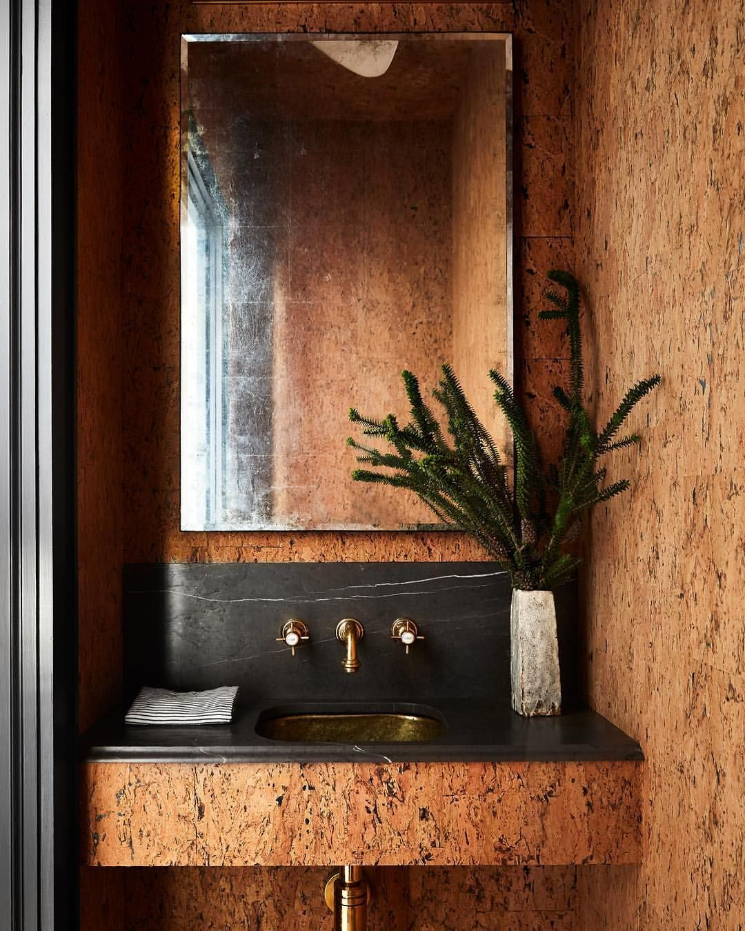 Shawn henderson on instagram modern vintage our cork texture inspired westvillage powder room opens up an inspiring scene in an unexpected space